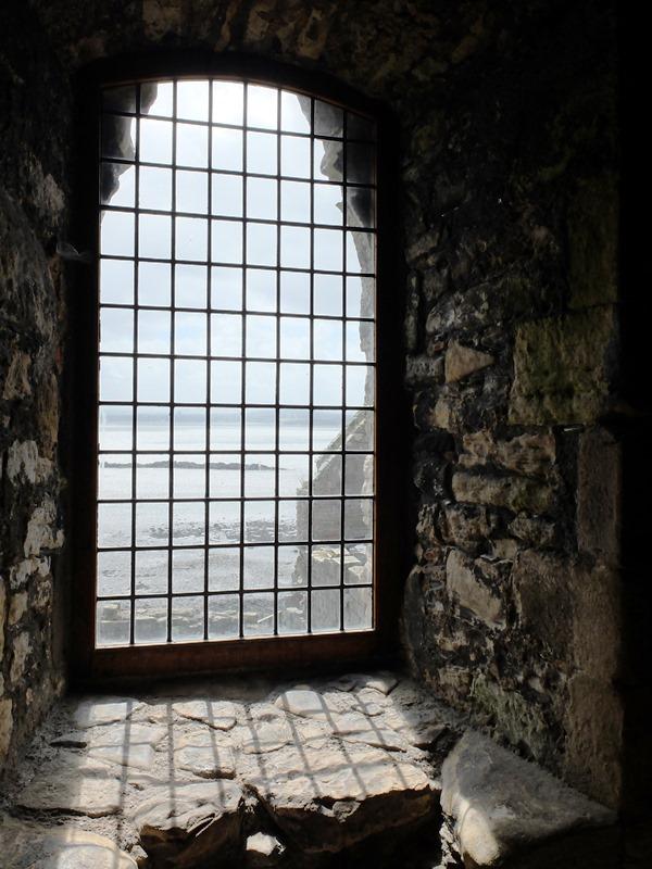建物の中から外を見る