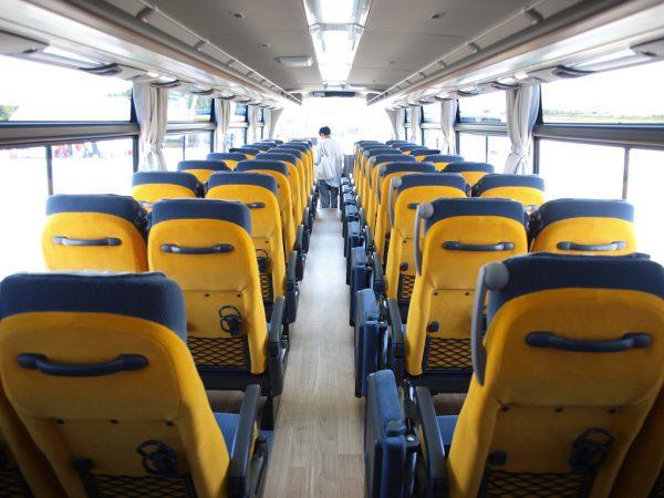 背面にイエローを配したカジュアルデザインの座席