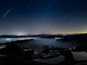 星峠の棚田と流星群