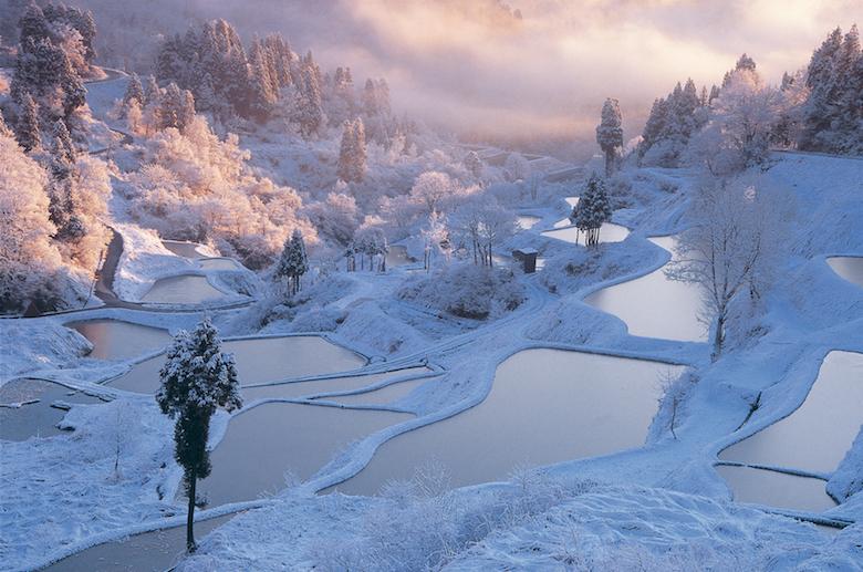 星峠の棚田の雪景色