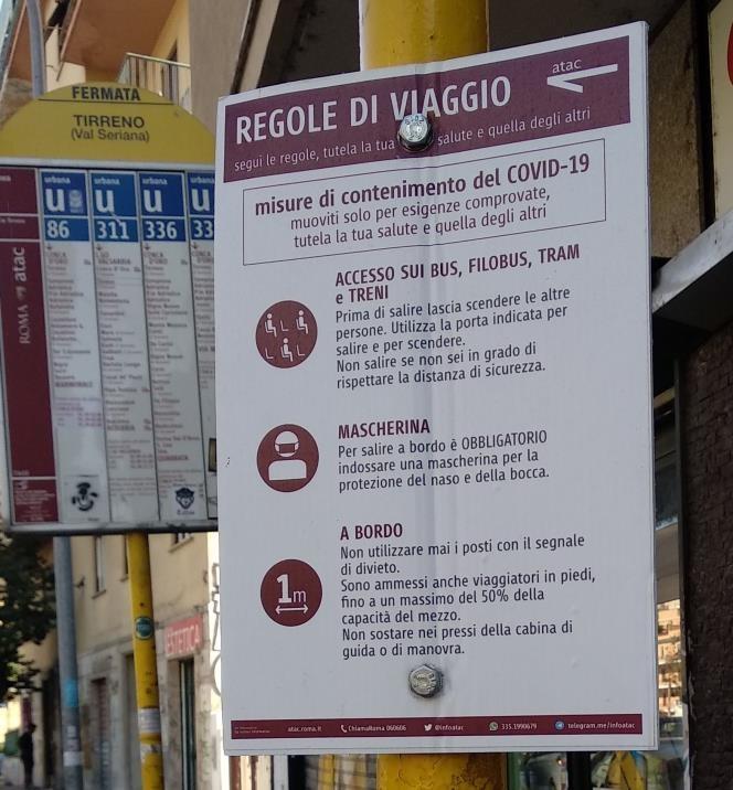 ローマ路線バスの新型コロナウイルス対策
