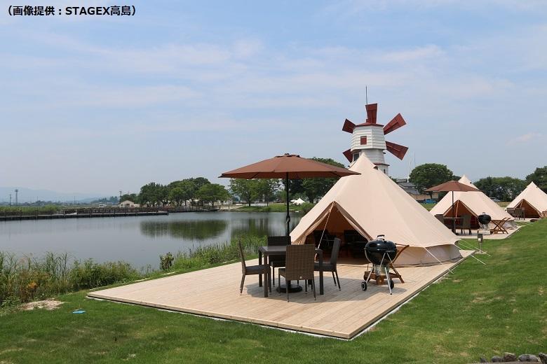 STAGEX高島は琵琶湖のほとりにあるグランピング施設