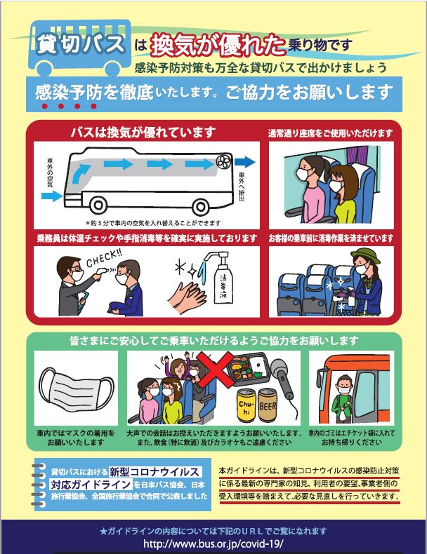 貸切バスのコロナウイルス感染予防対策リーフレット