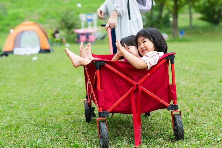 デイキャンプではしゃぐ子どもたち